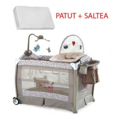 Krausman - Patut Sleeper Beige Pink Luxury + Saltea Cocos Konfort 105*70 cm