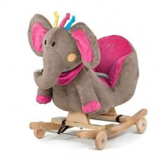 Kinderkraft - Balansoar cu roti 2 in 1 Elephant Pink cu sunete