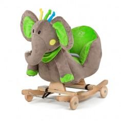 Kinderkraft - Balansoar cu roti 2 in 1 Elephant Green cu sunete
