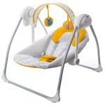 Kinderkraft - Leagan portabil 2 in 1 NANI YELLOW cu conectare la priza