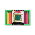 Melissa & Doug - Set 10 creioane colorate groase trunghiulare in culori fluorescente