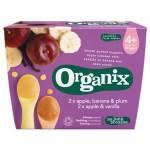 Piure Organix, Mere, Vanilie si Mere, Banane, Prune, 2x2x100 g, de la 4 luni