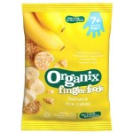 Rondele din Orez expandat Organix Finger ECO, Banane, 50 g, de la 7 luni