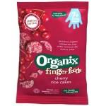Snack Organix Finger Rondele din orez expandat, Cirese, 50 g, de la 7 luni
