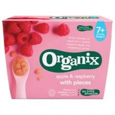 Snack Organix Goodies Bucatele de fructe, Mere/Zmeura, 4 x 95 g, de la 7 luni