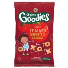 Snack Organix Goodies Figurine X si 0, Porumb expandat si Rosii, 4x15 g, de la 1 an