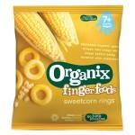 Snack Organix Finger, Inele din Porumb Dulce expandat, 20 g, de la 7 luni