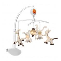 Carusel muzical Baby Ono cu prindere universala Girafe si maimute