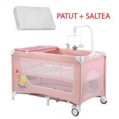 Krausman - Patut Sweet Pink Deluxe + Saltea Cocos 120*60 cm