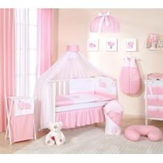 MAMO-TATO - Lenjerie patut 14 piese 120x60 Cute Bird Pink