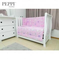 PEPPIbambini - Lenjerie patut 4 piese Balloons Pink