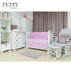 PEPPIbambini - Lenjerie patut 5 piese Balloons Pink