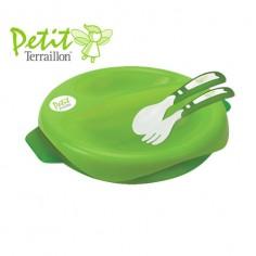Petit Terraillon - Farfurie termica 2 in 1 si set tacamuri Green