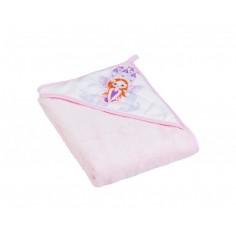Prosop baie cu gluga 80x80 Little princess - roz