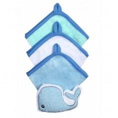 Set 3 manusi cu burete de baie Balena albastra