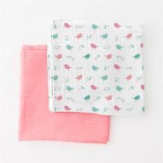Summer Infant-Set 2 paturici de muselina roz/imprimeu pasari