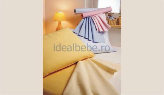 Fabula italia - Set lenjerie pat giocosi uni alb, albastru, galben, natural, roz, vernil