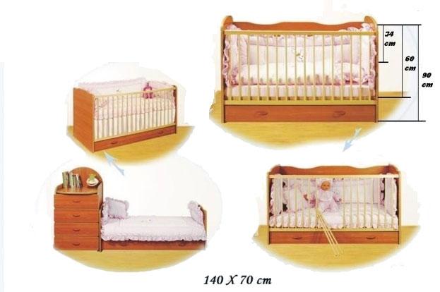 Bretco Design   Patut copii CINDY  Transformabil (cu sertar