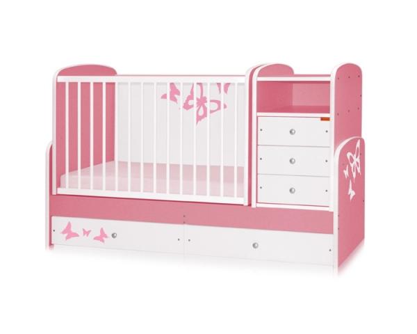 Bertoni - Mobilier lemn MAXI Pink Butterfly + cearceaf de pat cadou