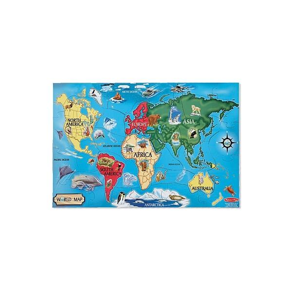 Melissa & Doug - Puzzle de podea Harta Lumii / World Map