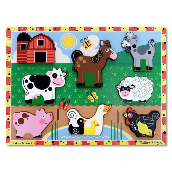 Melissa & Doug - Puzzle lemn in relief Animale de ferma