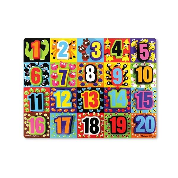 Melissa & Doug - Puzzle lemn in relief Numere de la 1 la 20