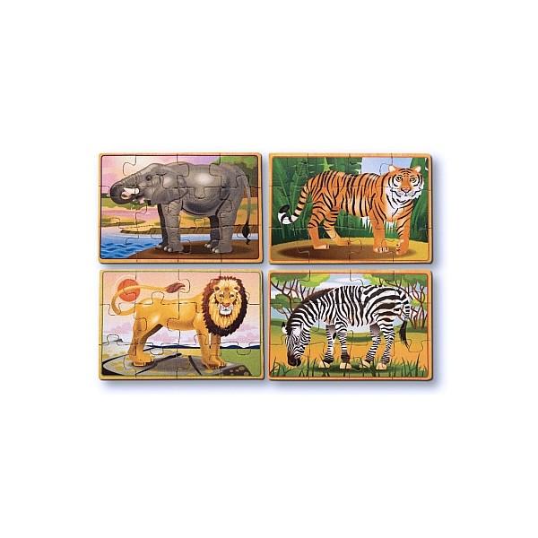 Melissa & Doug - Set 4 puzzle lemn in cutie - Animale salbatice