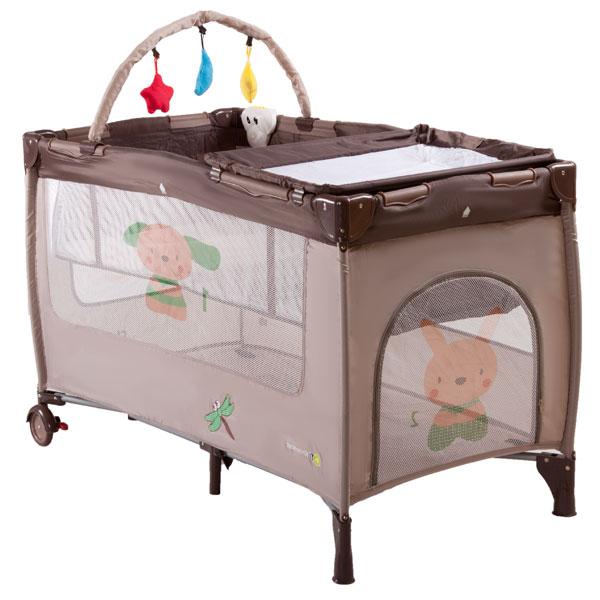 KinderKraft - Patut pliabil Jolly Brown cu vibratii si muzica