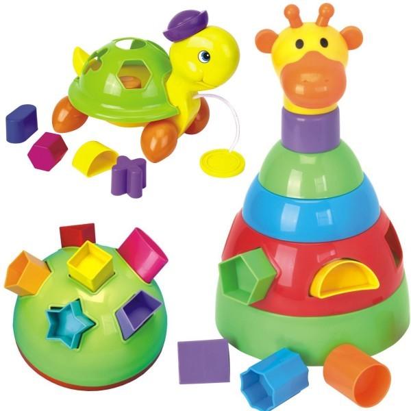 Baby Mix - Set de 3 jucarii Girafa, Testoasa si Minge